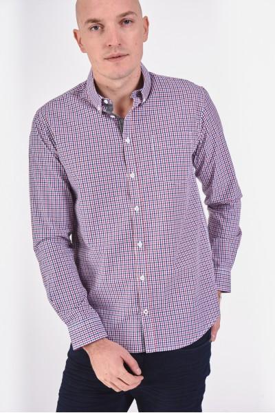 Bawełniana koszula slim z łatami na łokciach