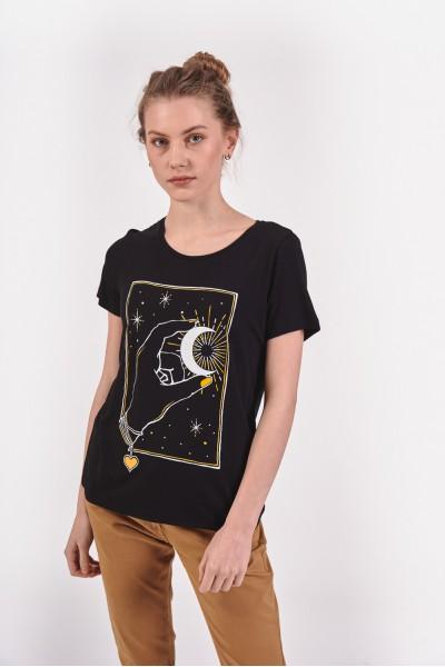 Wiskozowy t-shirt z grafiką