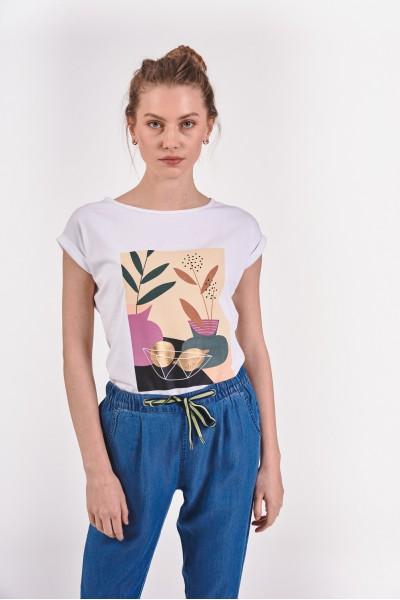 T-shirt z kolorową grafiką