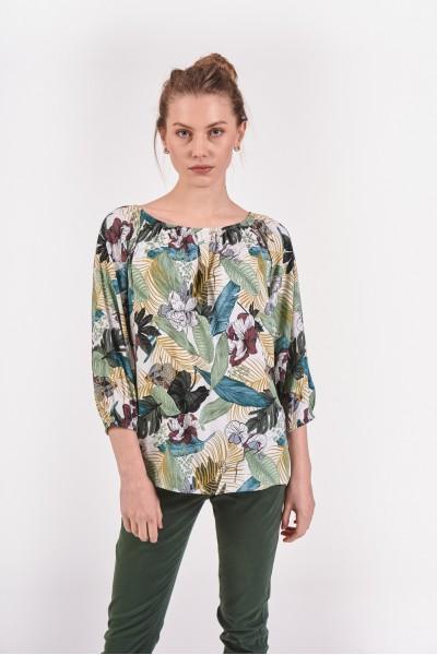 Wiskozowa bluzka w liście