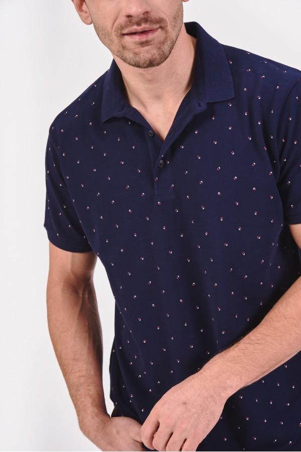 Bawełniana koszulka polo w drobny wzór