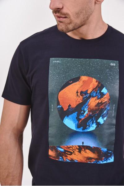 Melanżowy t-shirt z kosmicznym nadrukiem
