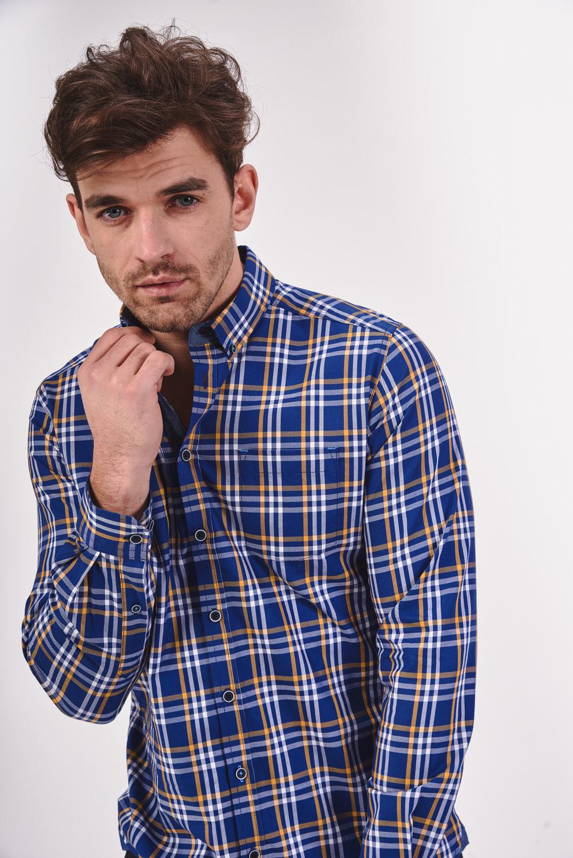 Bawełniana koszula slim w kratę