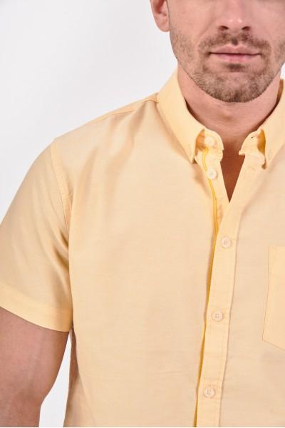 Żółta koszula slim z kieszonką na piersi