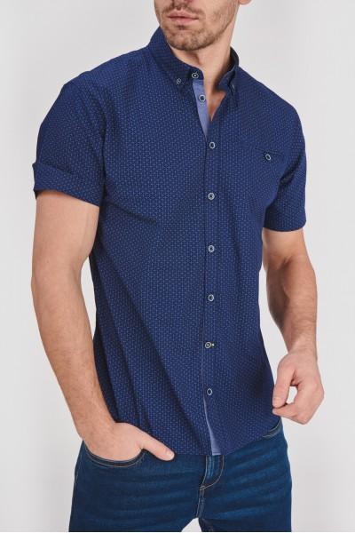 Granatowa koszula regular z kieszonką na piersi