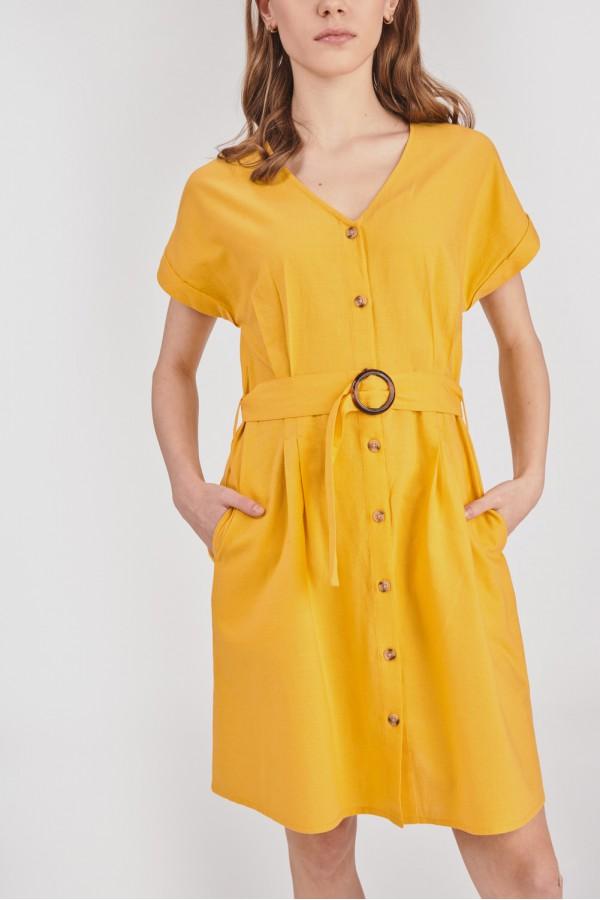 Sukienka szmizjerka z dodatkiem lnu