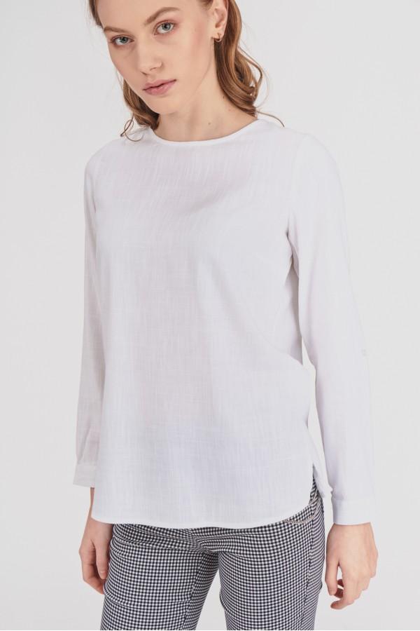 Biała bluzka z wiązaniem na plecach