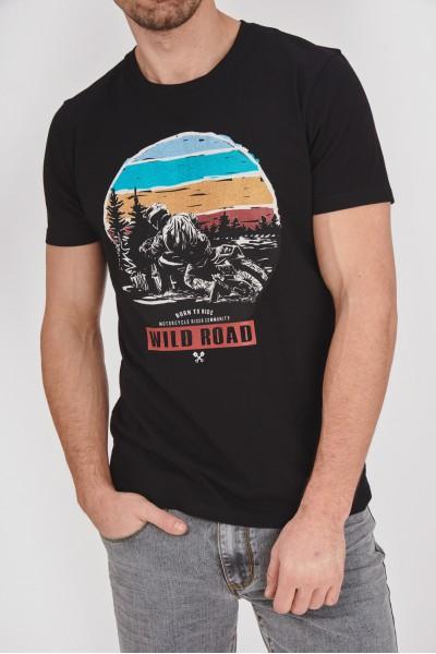 Bawełniana koszulka z okrągłą grafiką