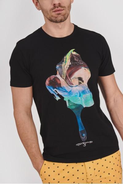 Bawełniana koszulka w abstrakcyjne wzory