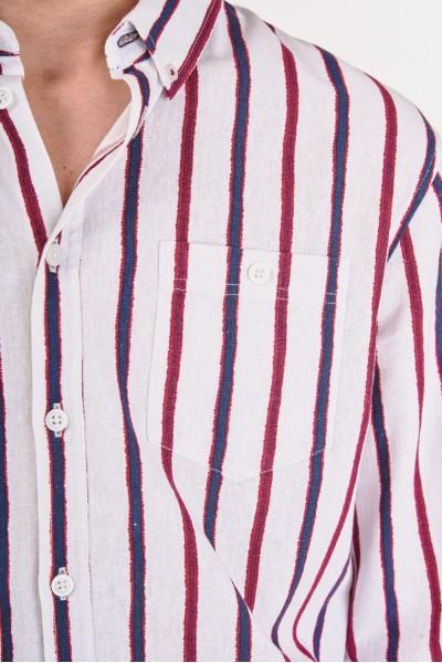 Pasiasta koszula regular z lnem