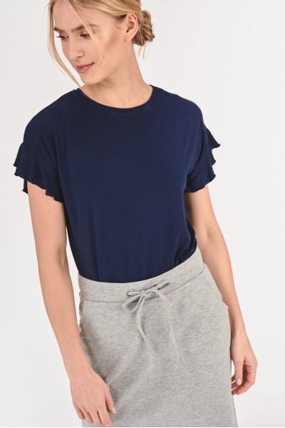 Koszulka z falbankami przy rękawach