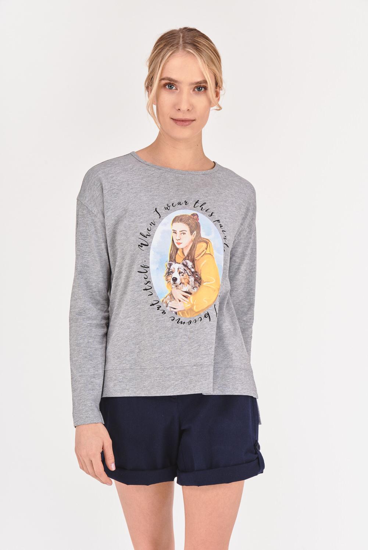 Koszulka z nadrukiem stylizowanym na obraz
