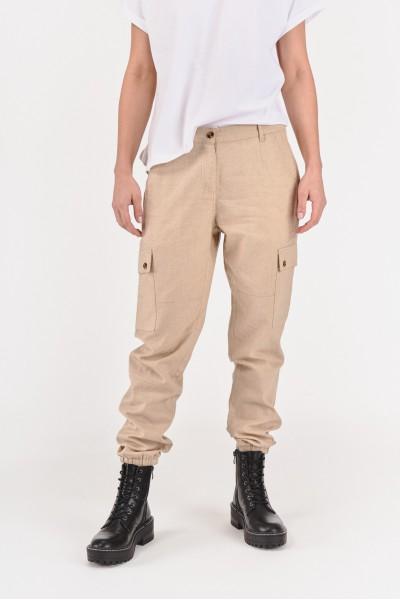 Lniane spodnie ze ściągaczami
