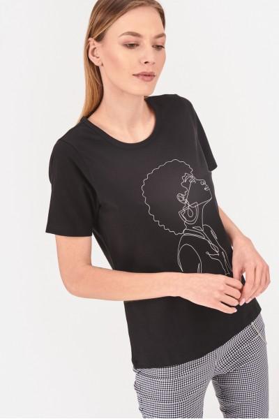 T-shirt z konturową grafiką