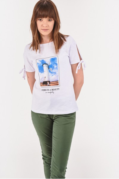 Koszulka z wiązaniami przy rękawach