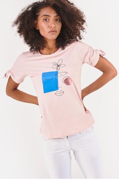 Koszulka z marszczeniami na rękawach