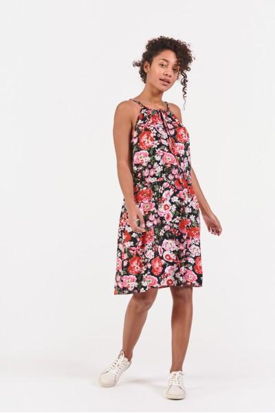 Wzorzysta sukienka z dekoltem halter