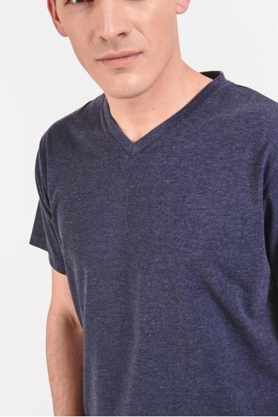 Melanżowa koszulka z dekoltem w serek