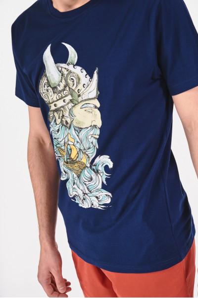 Bawełniana koszulka z nadrukiem Wikinga