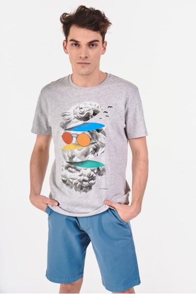 Bawełniana koszulka z futurystycznym nadrukiem