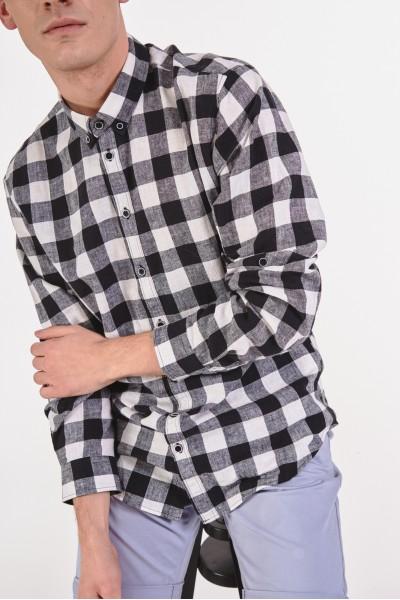 Lniana koszula regular w kratę