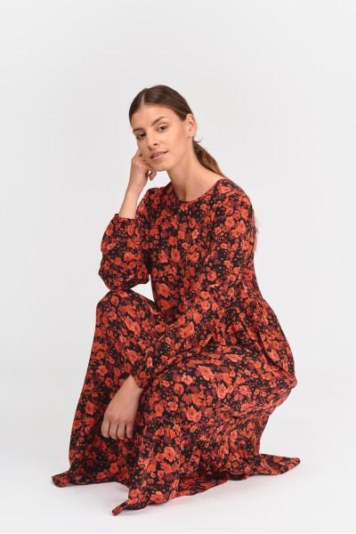 Wzorzysta sukienka midi