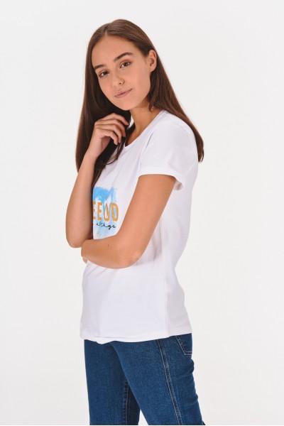 Koszulka z brokatowym napisem