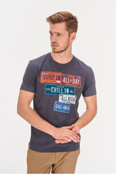 Melanżowa koszulka z nadrukiem