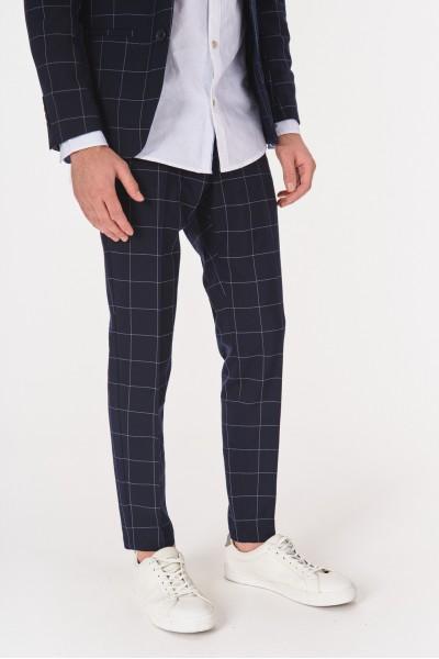 Materiałowe spodnie w kratę