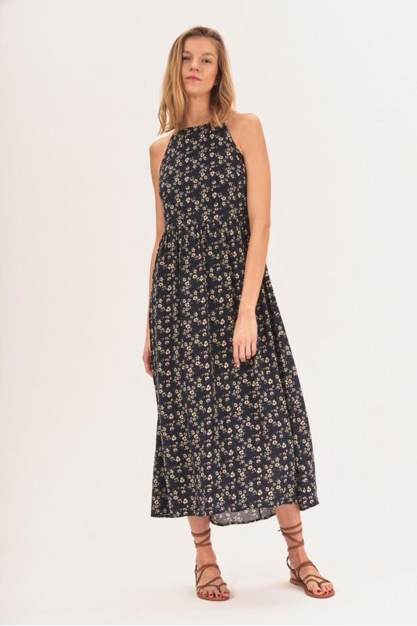 Sukienka midi z dekoltem halter