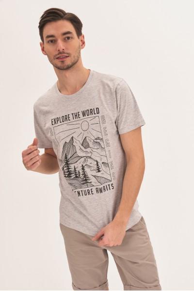 T-shirt z konturowym nadrukiem
