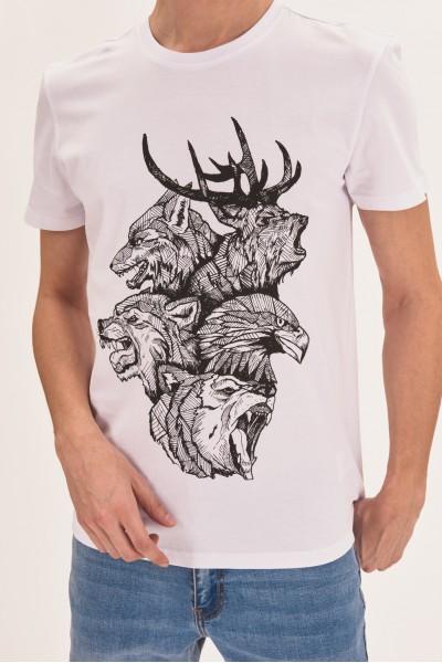 T-shirt z geometrycznymi zwierzętami